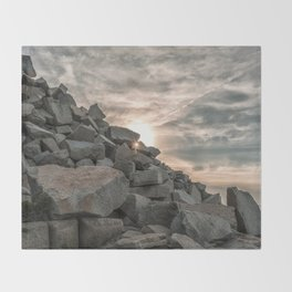 Rocks sky and sea Throw Blanket