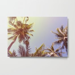 Retro Landscape of Tropical Island with Palm Trees Metal Print