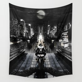 Poster with a biker on a motorcycle in the form of an angel looking into the distance of the urban v Wall Tapestry