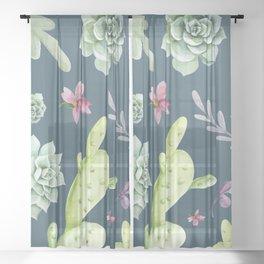Cactus Watercolor Pattern 13 Sheer Curtain