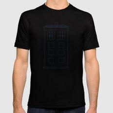 TARDIS Blueprint Pattern - Doctor Who Mens Fitted Tee MEDIUM Black