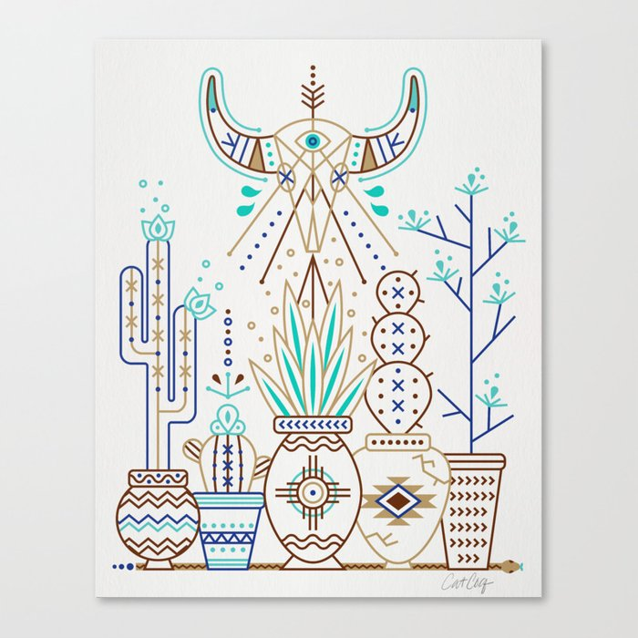 Canvas Santa Fe >> Santa Fe Garden Turquoise Brown Canvas Print By Catcoq