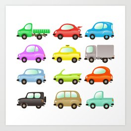funny and colored vector cars on white Art Print