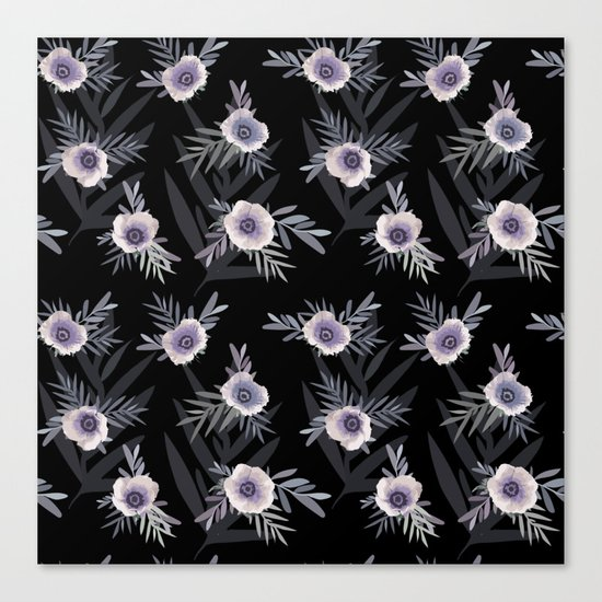 Floral pattern with anemone flowers, romantic print black background Canvas Print