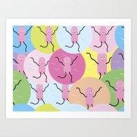 Cutie monsters pattern Art Print