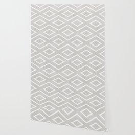 Stitch Diamond Tribal Print in Grey Wallpaper