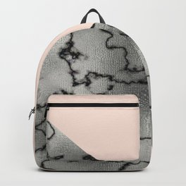 Peach and silver marble metallic Backpack