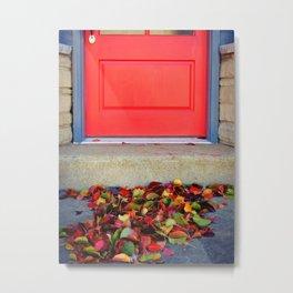 Leaves and Door Metal Print