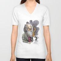 darwin V-neck T-shirts featuring Darwin by ElenaTerrin