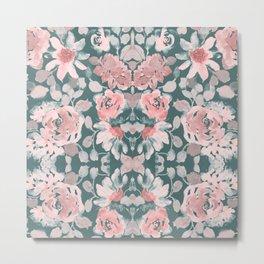 Abstract Watercolor, Floral, Green and Pink, Boho Wall Art Metal Print