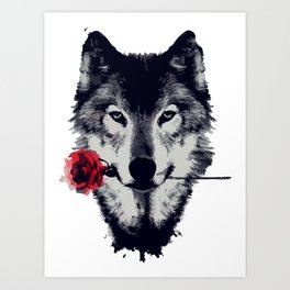 The Wolf With a Rose & Mountains Art Print