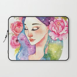 Unearthly supernatural girl with space in the hair. Virgo constellation. Laptop Sleeve