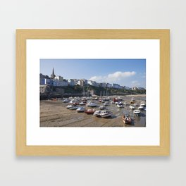 Boats in Tenby Harbour at low tide. Wales, UK. Framed Art Print