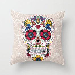 Day of the Dead Sugar Skull Light Throw Pillow