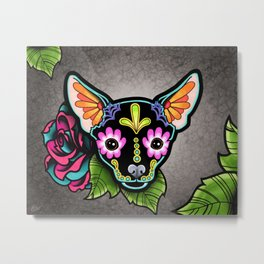 Chihuahua in Black - Day of the Dead Sugar Skull Dog Metal Print
