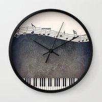 piano Wall Clocks featuring Piano by Gosia