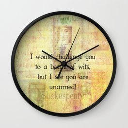 Funny Shakespeare Quote Wall Clock