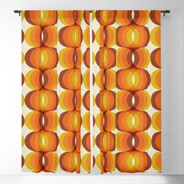 Orange, Brown, and Ivory Retro 1960s Wavy Pattern Blackout Curtain