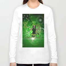 Happy St. Patrick's day with beautiful girl Long Sleeve T-shirt