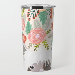 Chinese Crested floral dog breed pattern cute dog gifts for dog lovers Travel Mug