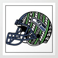 seahawks Art Prints featuring Polynesian Style Seahawks by Lonica Photography & Poly Designs