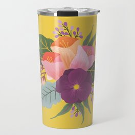 May Florals on Yellow Travel Mug