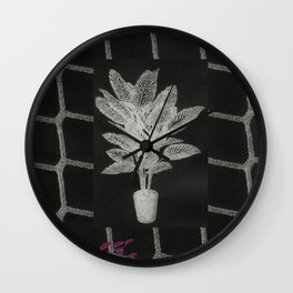 Strong Saints - Magic Dark collage with key, saints, net, shells, plants and grid Wall Clock
