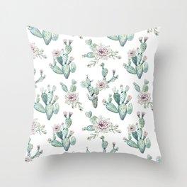 Cactus Pretty Pink + Green Throw Pillow