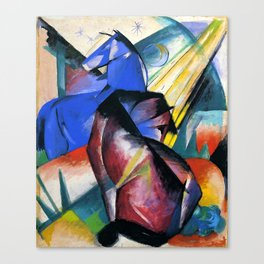 """Franz Marc """"Two Horses Under The Stars"""" Canvas Print"""