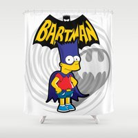 simpsons Shower Curtains featuring Bartman: the simpsons superheroes by logoloco