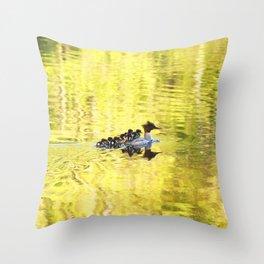 Bird's Family Happiness - Lake Reflection - Summer Scene #decor #society6 #buyart Throw Pillow