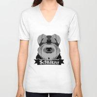 schnauzer V-neck T-shirts featuring Schnauzer by mailboxdisco