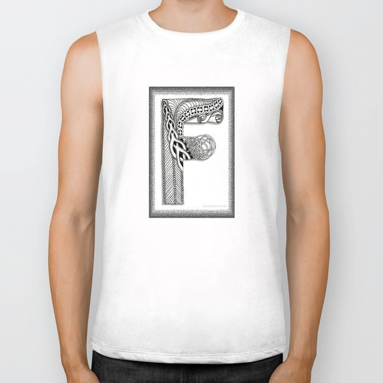Zentangle F Monogram Alphabet Illustration Biker Tank