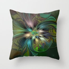 Colorful Abstract Fractal Art Throw Pillow