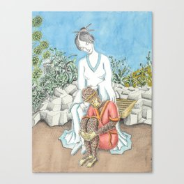 Guanyin and the Monkey King Canvas Print