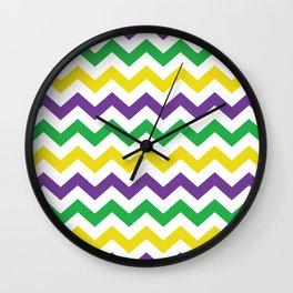 Mardi Gras Chevron Wall Clock