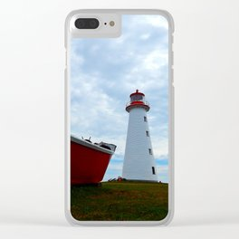 Boat and Lighthouse in Point Prim PEI Clear iPhone Case