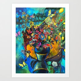 Flowers in Blue Landscape Art Print
