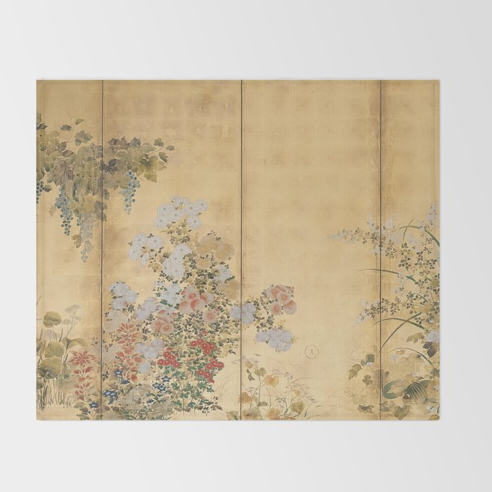 Japanese Edo Period Six-Panel Gold Leaf Screen - Spring and Autumn Flowers Decke