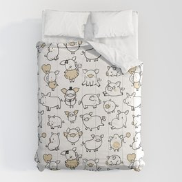 Cute little hand drawn pigs with hats and ballons Comforters