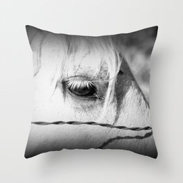 Horse's Eye: Black and White Photo Throw Pillow