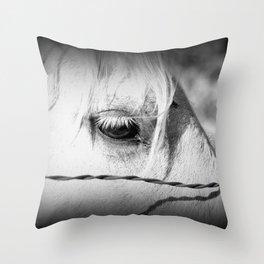 Horse's Eye: Black and White Photo Throw Pillow