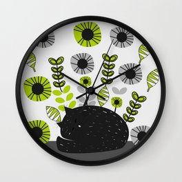 Sleepy cat and floral bouquet Wall Clock