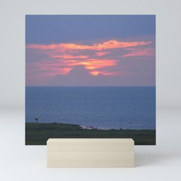 sunset over the sound (with a couple of cables removed) Mini Art Print