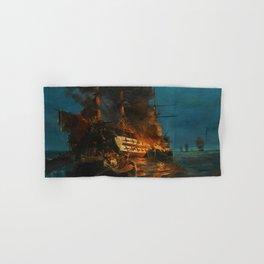 The Burning of a Turkish Frigate Hand & Bath Towel