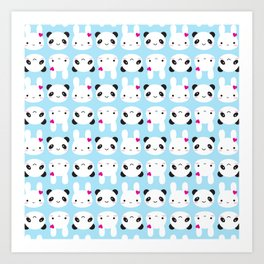 Super Cute Kawaii Bunny and Panda Art Print