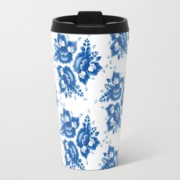 Vintage shabby Chic Seamless pattern with blue flowers and leaves. Vector Travel Mug