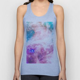 Abstract colorful turquoise pink galaxy nebula Unisex Tank Top