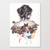 butterfly Canvas Prints featuring Butterfly Effect by KatePowellArt