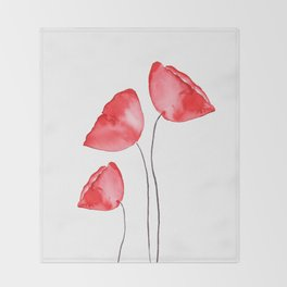 3 red poppies watercolor Throw Blanket
